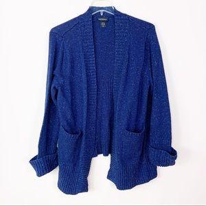 LANE BRYANT Navy Blue Speckle Knit Cardigan 4X
